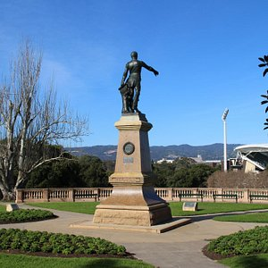 Statue of Colonel William Light. View towards the Mt Lofty Ranges