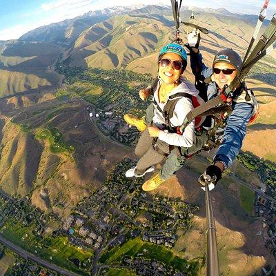 Paragliding tandem flight over Sun Valley