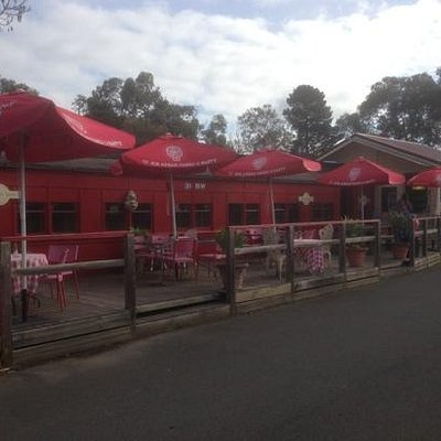 Red Rattler Carriage Cafe.Cosy private cabins seating 2-4 people. Outdoor seating as well.