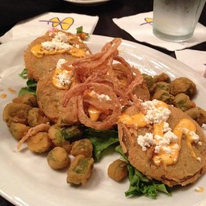 Fried green tomatoes and okra with goat cheese