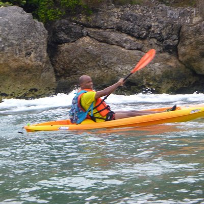 Kayaking off the North of the island. Rugged and picturesque.