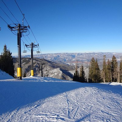 Top of the mountain. Day 2 skiing. Our daughter was with ski school.