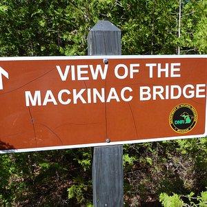 short trail for view of Mackinac Bridge