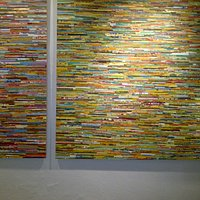 Huge modern pieces of art made from tiny pieces of art