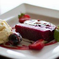 Summer Berry Jelly Dessert with Vanilla Ice Cream