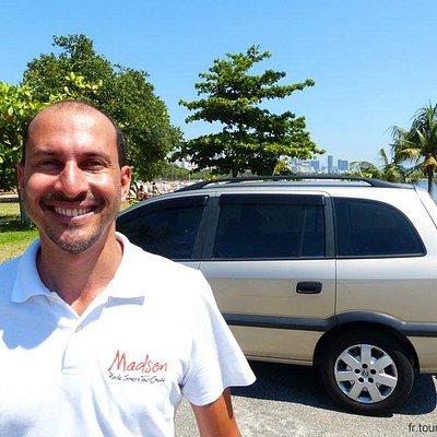 Madson and his minivan in Rio de Janeiro