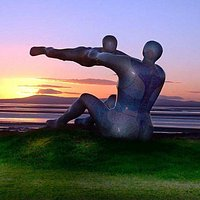 Venus & Cupid Sculpture by Shane Johnstone against a beautiful Morecambe sunset