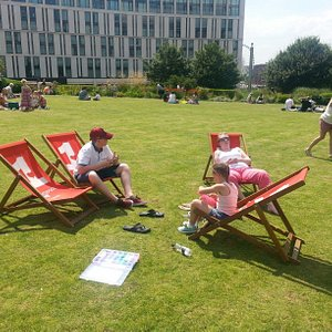 Sun bathing time in the centre of Liverpool.