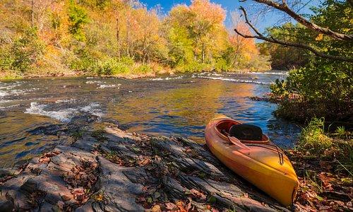 Kayak on the riverbank