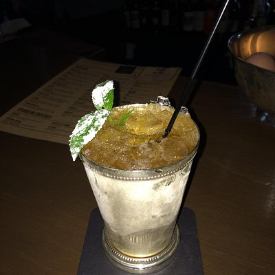 Mint Julep in silver cup.