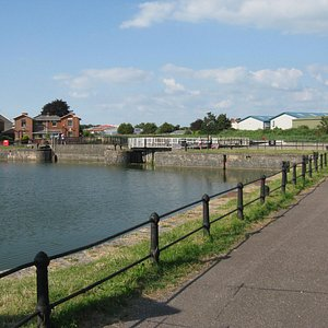 Bridgwater Dock looking towards the barge lock into the River Parrett
