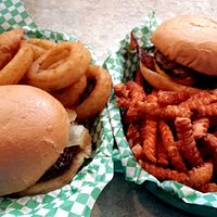 Juicy Nookie Burger and Triple B Burger Onion Rings and Sweet Potato Fries
