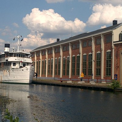 Motala Industrimuseum with Wilhelm Tham moored up.