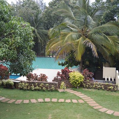 View of pool from reception