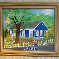 """""""The House is Blue But The Old Lady Ain't"""" painting of her blue cottage and herself and dog, Her"""