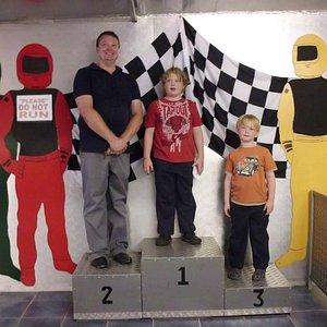 The winner's podium.