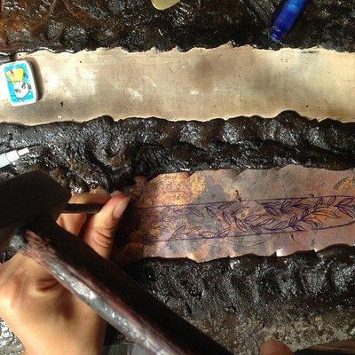 Copper bracelet carving