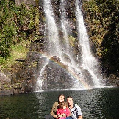 Na base da Cachoeira dos Garcias