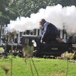 A train on a warm up  lap