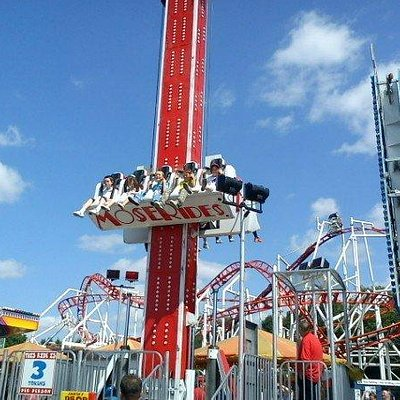 The drop tower, me and my 2 cousins