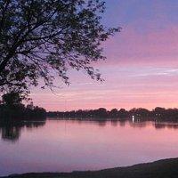 sunset on thr lake