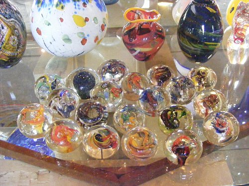Handmade glass marbles, vases and paperweights