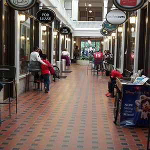 Inside shopping and dining area.