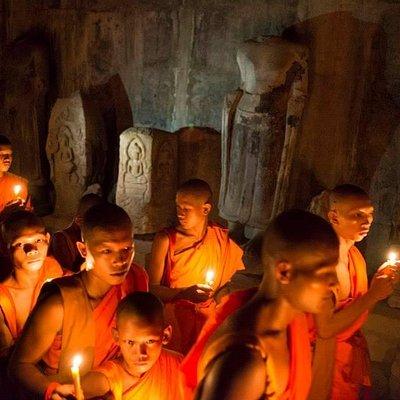 Monk chanting at Angkor Wat hall