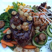 Delicious steak with mushrooms and shallots
