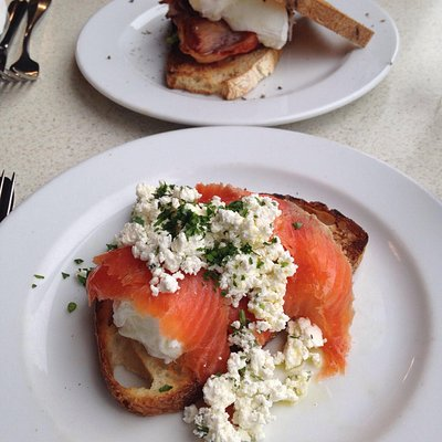 Poached eggs & not so crispy bacon Poached eggs and definitely not smoked trout