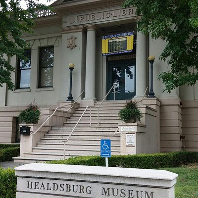 The museum is located in the Public Library building. Entrance to the museum is around the side