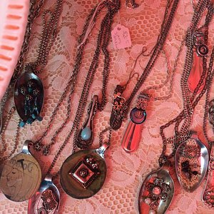 It was so busy and exciting, I took only one photo. Pendants made with spoons.