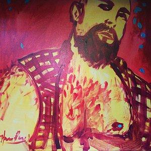 Hans Payan painting at RIPCORD.  Gay Bar, Houston, Texas.