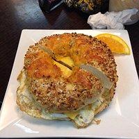 Yummy bagel breakfast sandwich