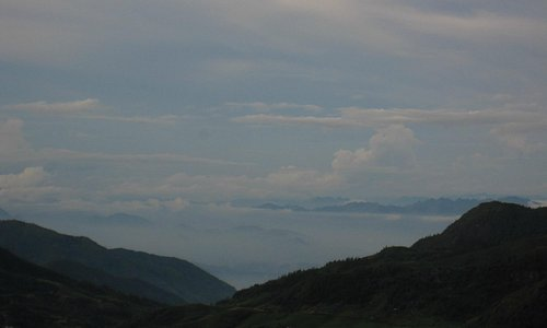 View from top lookout looking toward Lao Cai and China