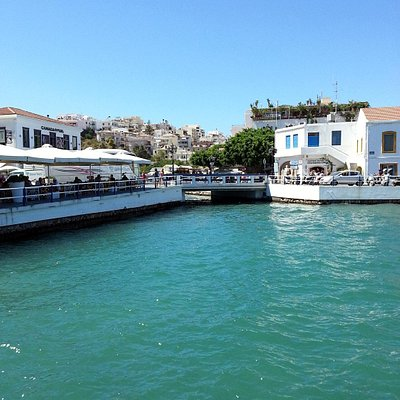 A view of the port with seaside reastaurants