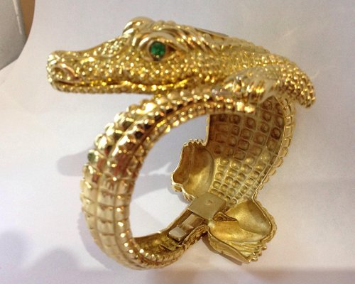 18K Gold Alligator Bangle with Emerald Green Eyes ~ Uncle Andre