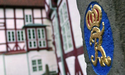 Aalborghus Slot, bygget 1539-1555, ligger i Aalborgs centrum tæt på Limfjorden.