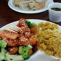 Sesame chicken combo and dumplings