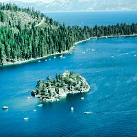 Close up view of the Island in the Emerald Bay