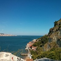 view on Cacilhas, the Tejo and Lisbon from the top of the roch near the Elevador da Boca