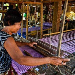 Madam Chenda weaving Krama