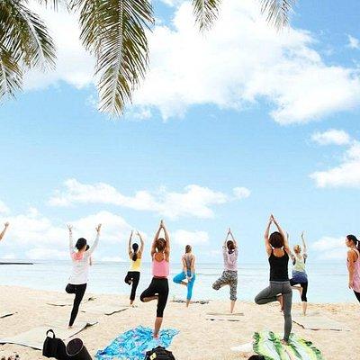 Beach Morning yoga in Waikiki