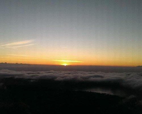 Sunrise at the peak of mount batur