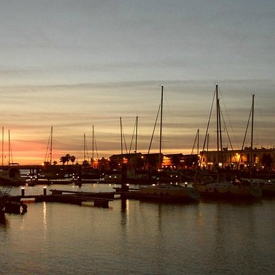 Sunset over Ayamonte marina
