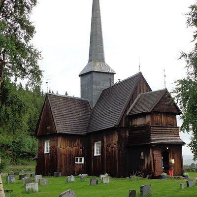 Kviknes church on a rainy day in July 2014