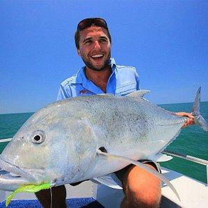Cobourg Fishing Safaris' guide Hugh Gange with a big GT, Cobourg Peninsula