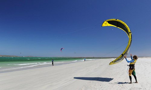 Wide beaches and flat water provide the perfect kite experience