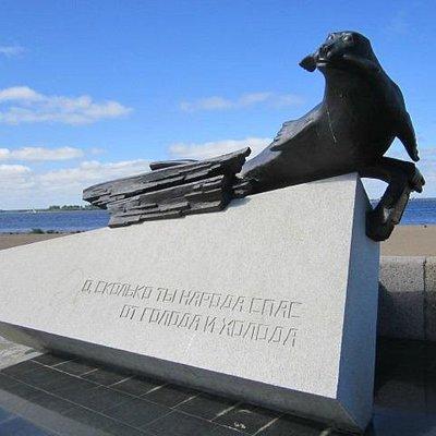 Памятник тюленю в Архангельске, июль 2014