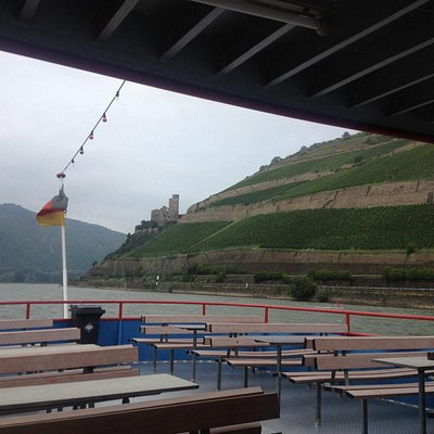 A view out the back of the boat at Burg Ehrenfels and the surrounding vineyards.